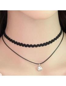 RKL1156 - Kalung Choker Collar Double Smiley