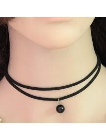 RKL1162 - Aksesoris Kalung Choker Double Black Pearl