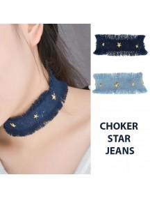 RKL1164W - Aksesoris Kalung Choker Star Jeans