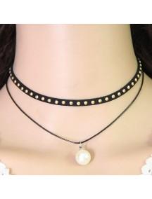 RKL1176 - Aksesoris Kalung Choker Stud Layer Pearl