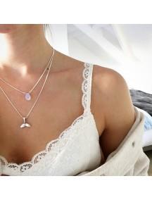 RKL1181W - Aksesoris Kalung Mermaid Fishtail Purple Beads Necklace