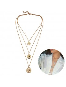 RKL1186W - Aksesoris Kalung Multilayer Gold Coin Necklace