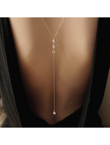 RKL1203W - Aksesoris Kalung Studed Diamond Back Necklace