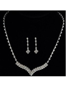 RKL1207 - Aksesoris Kalung Diamond Bridal Set V-Shape