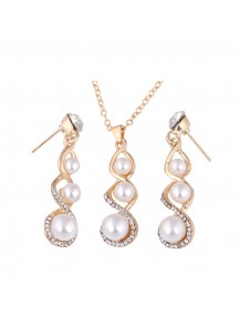 RKL1212 - Aksesoris Kalung Drop Pearl Necklace Set