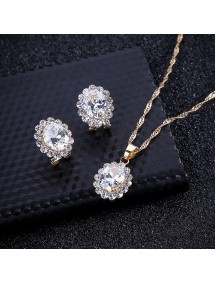 RKL1213 - Aksesoris Kalung Gem Diamond Necklace Set