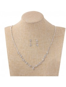 RKL1215 - Aksesoris Kalung Silver Gem Diamond Necklace Set