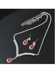 RKL1218W - Aksesoris Kalung Ruby Pendant Necklace Set