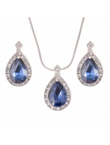 RKL1219 - Aksesoris Kalung Sapphire Pendant Necklace Set
