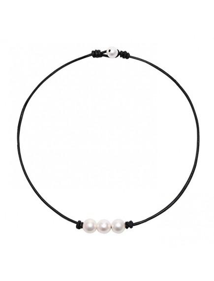 RKL1221 - Aksesoris Kalung Choker Triple Pearl Knot