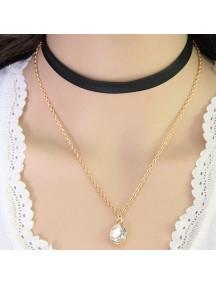 RKL1011 - Aksesoris Kalung Choker Double Layer Diamond