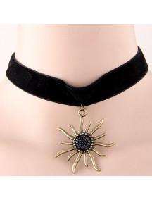 RKL7758 - Aksesoris Kalung Choker Fashion Velvet Sunflower Choker
