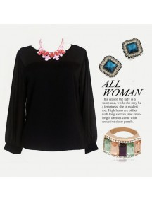 RBJ1003 - Stripped Chiffon Long Top (Black)