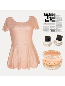 RBJ1012 - Scallop Glitter Top (Peach)