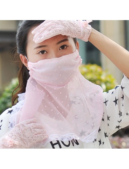 HO4428B - Masker Anti Uv Matahari & Debu Polkadot Pattern ( Pink )