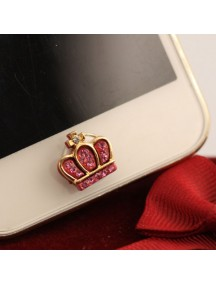 HO4453 - Aksesoris Handphone Iphone Home Button Crown Crystal ( Pink )