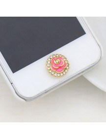 HO4451 - Aksesoris Handphone Iphone Home Button Diamond Rose ( Pink )