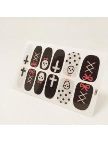 HO4807-Z9040 - Glitter Gum Nail Stickers Cross & Skull