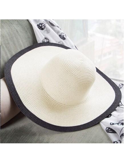 HO4860 - Topi Pantai Sun Hat Beach Jerami Black & White