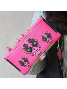 HO3567 - Dompet Fashion Model Tengkorak (Pink Tua)