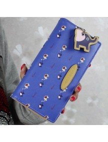 HO3576D - Dompet Fashion Zipper Model Gajah (Biru Tua)