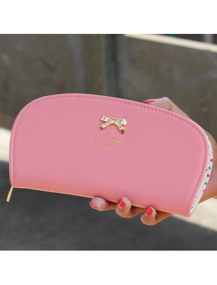 HO3577 - Dompet Fashion Dot Zipper Bow (Pink)