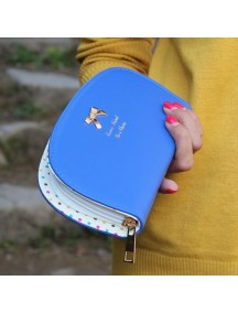 HO3577B - Dompet Fashion Dot Zipper Bow (Biru Tua)