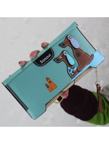 HO3585B - Dompet Fashion Slim Duo Cute Puppy (Biru)