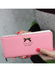 HO3587 - Dompet Fashion Dot Pita (Pink)