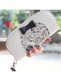 HO3588B - Dompet Fashion Zipper Round Bow (White Cream)