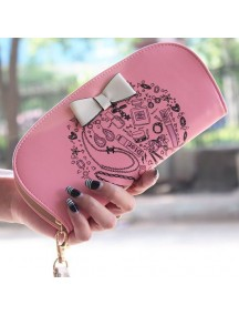 HO3588C - Dompet Fashion Zipper Round Bow (Pink)