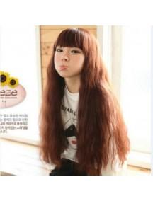 HO4042 - Wig / Rambut Palsu Panjang + Poni (Dark Brown)