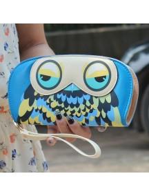 HO4101C - Dompet Fashion Zipper Burung Hantu (Biru Tua)
