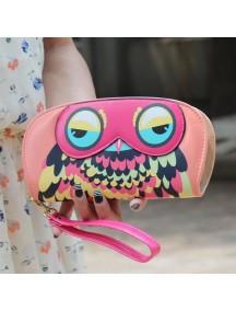 HO4101D - Dompet Fashion Zipper Burung Hantu (Pink)