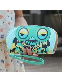 HO4101E - Dompet Fashion Zipper Burung Hantu (Hijau)
