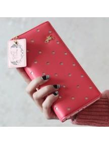 HO4109E - Dompet Fashion Hollow Dot Puppy (Merah)