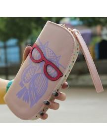 HO4119B - Dompet Fashion Owl With Eyeglasses (Pink)