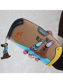 HO4122C - Dompet Fashion Puppy Zipper (Coklat)