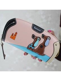 HO4122E - Dompet Fashion Puppy Zipper (Pink)