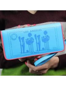 HO4123 - Dompet Fashion Zipper Los Angeles (Biru)