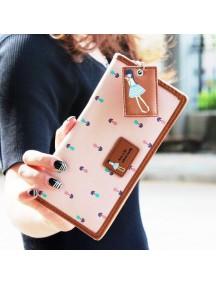 HO4130 - Dompet Fashion Purse Zipper Mori Women (Pink)