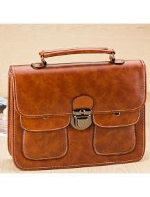 HO4134 - Tas Fashion Simple Vintage Leather w Pocket (Coklat)