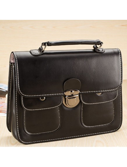 HO4134B - Tas Fashion Simple Vintage Leather w Pocket (Hitam)