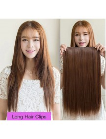 HO4203 - Hair Clips Ekstension Lurus Panjang Light Brown