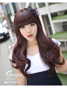 HO4264 - Wig/ Rambut Palsu Curly Panjang Dark Brown