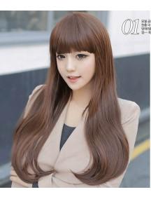 HO4282 - Wig/ Rambut Palsu Panjang Volume Coklat