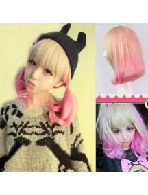 HO4514 -  Short  Bob Wig Japan Harajuku Gradient Pink Curly