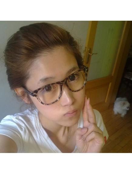 HO2438C - Kacamata Fashion Simpel Korea Glassless ( Leopard )