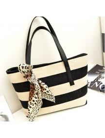 HO2804 - Tas Fashion Bergaris Dengan Syall Leopard