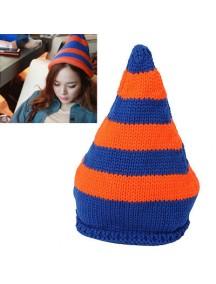HO2904 - Topi Fashion Winter Wool Stripe (Blue + Orange)